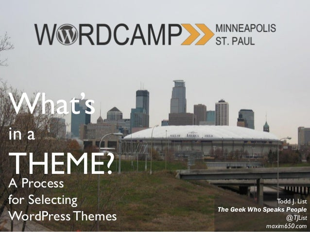 What's in a THEME?A Process for Selecting WordPressThemes Todd J. List The Geek Who Speaks People @TJList maxim650.com
