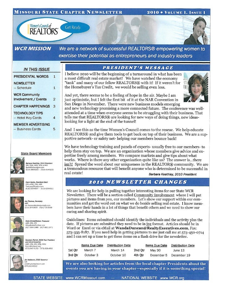 WCR-MO NEWSLETTER