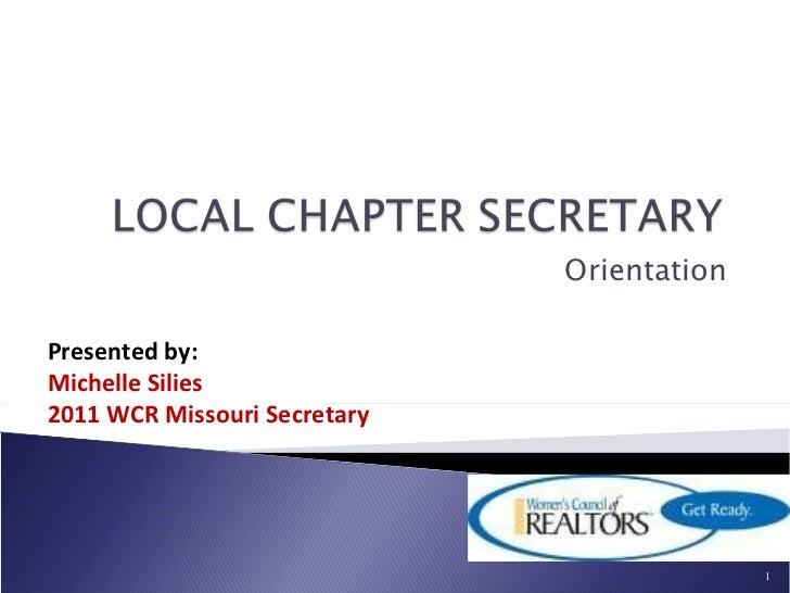 WCR-MO Local Chapter Secretary Orientation