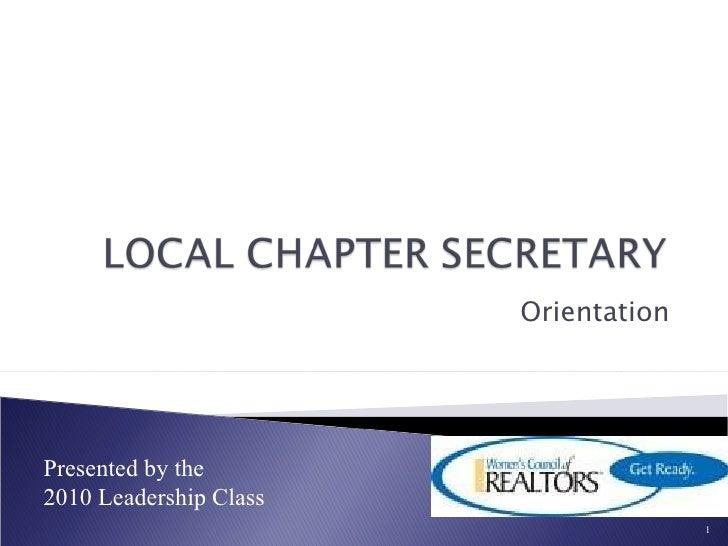 Orientation - Corporate Recording Secretary