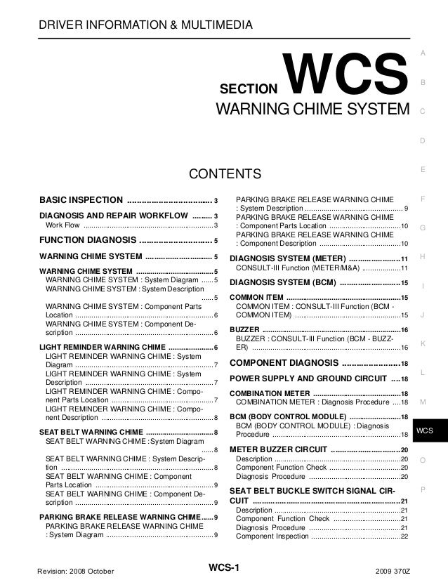 DRIVER INFORMATION & MULTIMEDIA  SECTION  WCS  WARNING CHIME SYSTEM  A  B  C  D  E  CONTENTS BASIC INSPECTION ...............