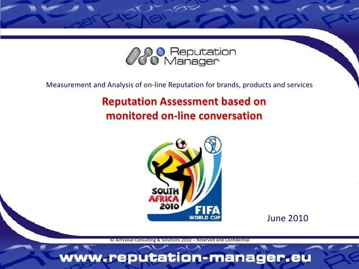 World Cup 2010 Reputation Manager