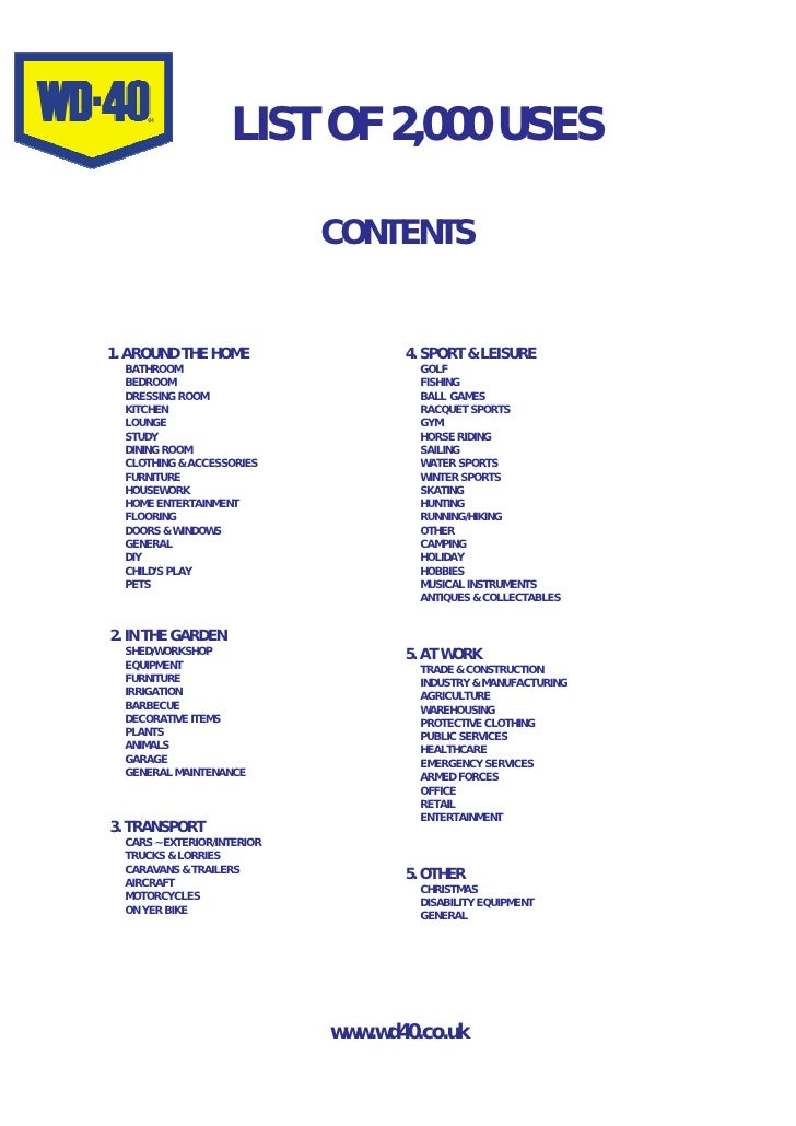 LIST OF 2,000 USES                               CONTENTS   1. AROUND THE HOME                  4. SPORT & LEISURE   BATHR...