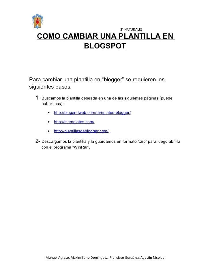 """3° NATURALES   COMO CAMBIAR UNA PLANTILLA EN            BLOGSPOTPara cambiar una plantilla en """"blogger"""" se requieren lossi..."""