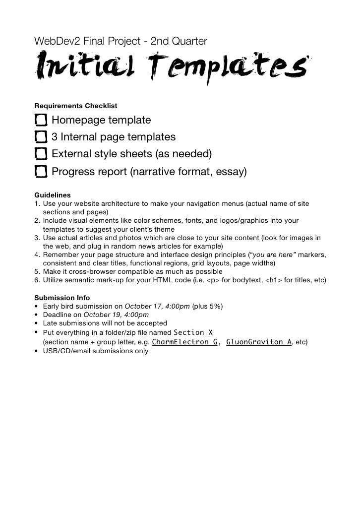 WebDev2 Final Project - 2nd QuarterInitial TemplatesRequirements Checklist     Homepage template     3 Internal page templ...