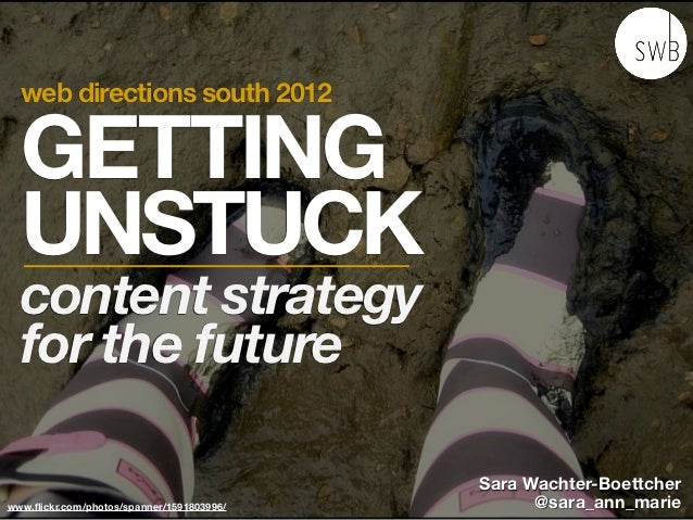 web directions south 2012  GETTING  UNSTUCK  content strategy  for the future                                           Sa...