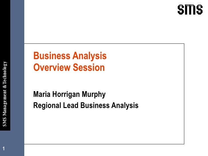 Business Analysis  Overview Session Maria Horrigan Murphy  Regional Lead Business Analysis