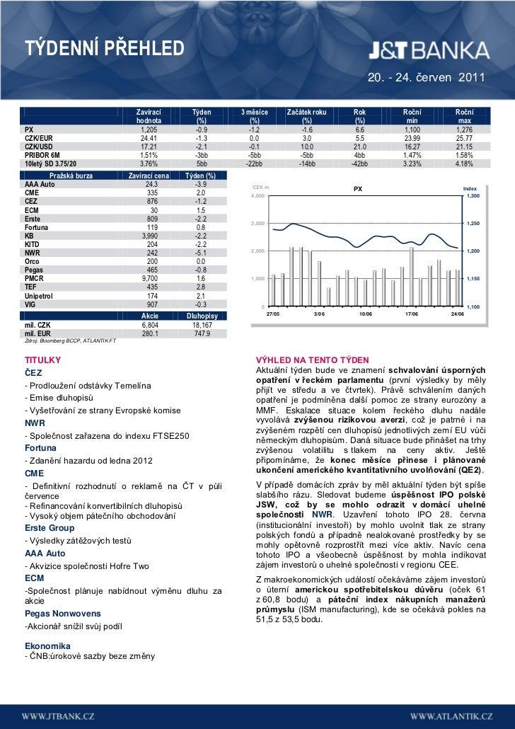 Týdenní přehled J&T Banky (20. - 24. červen 2011)