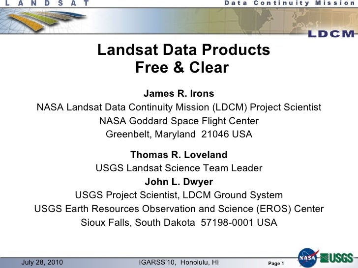 WE2.L10.1: LANDSAT DATA PRODUCTS, FREE AND CLEAR