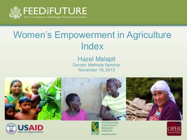 Women's Empowerment in Agriculture  Index  Hazel Malapit  Gender Methods Seminar  November 19, 2013