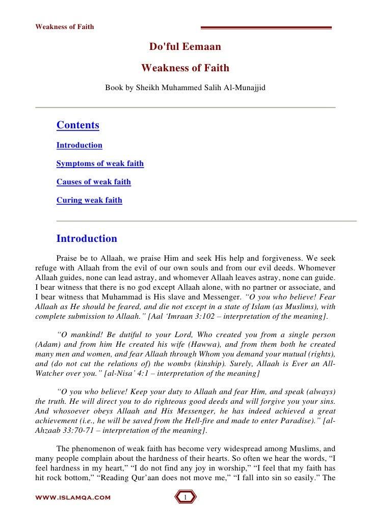 Weakness Of Iman (Faith)
