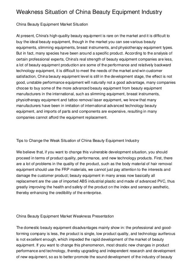 Weakness Situation of China Beauty Equipment IndustryChina Beauty Equipment Market SituationAt present, Chinas high-qualit...