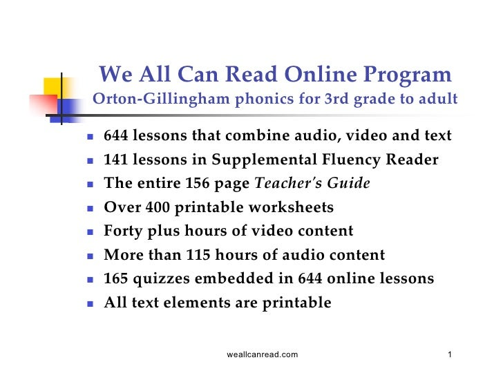 We All Can Read Online ProgramOrton-Gillingham phonics for 3rd grade to adult   644 lessons that combine audio, video and...