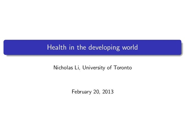 Wealth and health in Africa   Nicholas Li