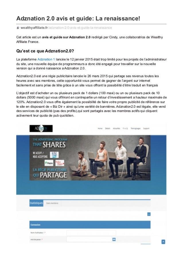 Adznation 2.0 avis et guide: La renaissance! wealthyaffiliate.fr/adznation-2-0-avis-et-guide-la-renaissance Cet article es...