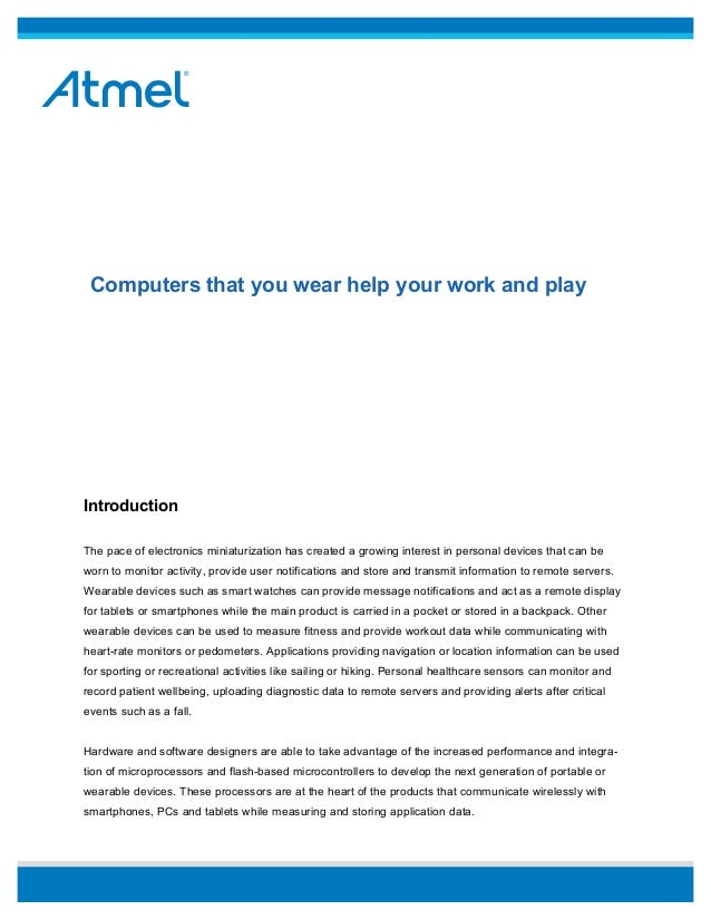 Atmel - Computers That You Wear Help Your Work and Play [WHITE PAPER]