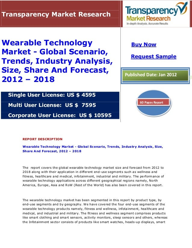Wearable Technology Market - Global Scenario, Trends, Industry Analysis, Size, Share And Forecast, 2012 - 2018