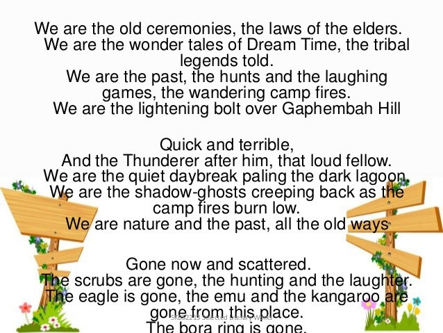 oodgeroo noonuccal essay we are going The indigenous poetry of oodgeroo noonuccal is significant in the history of  australian culture  female poet to have her works published in 1964 to great  success as the title we are going awarded the  essay that argues: the  indigenous.