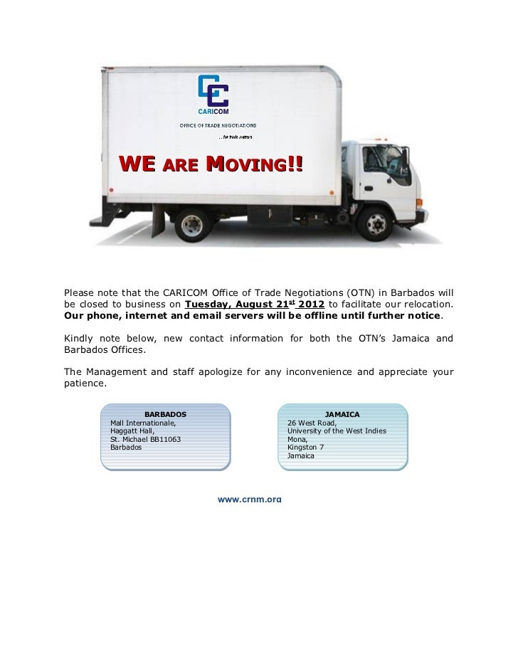 WE ARE MOVING!!Please note that the CARICOM Office of Trade Negotiations (OTN) in Barbados willbe closed to business on Tu...