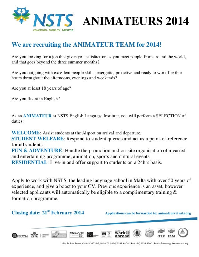 ANIMATEURS 2014 We are recruiting the ANIMATEUR TEAM for 2014! Are you looking for a job that gives you satisfaction as yo...