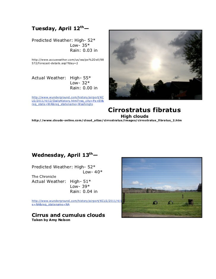 Tuesday, April 12th—Predicted Weather: High- 52*                Low- 35*                Rain: 0.03 inhttp://www.accuweathe...