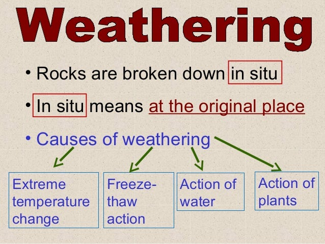 • Rocks are broken down in situ • In situ means at the original place • Causes of weatheringExtreme       Freeze-   Action...