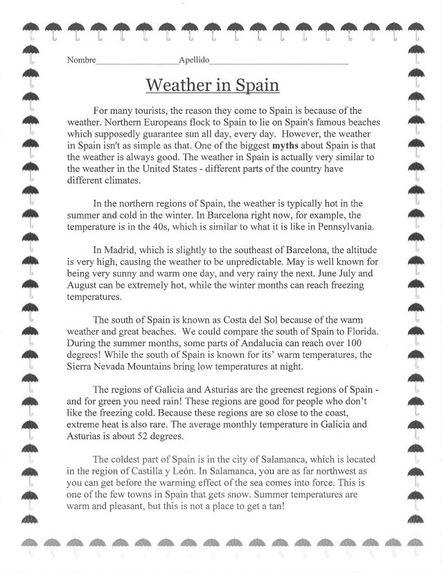 weather in spain worksheet. Black Bedroom Furniture Sets. Home Design Ideas