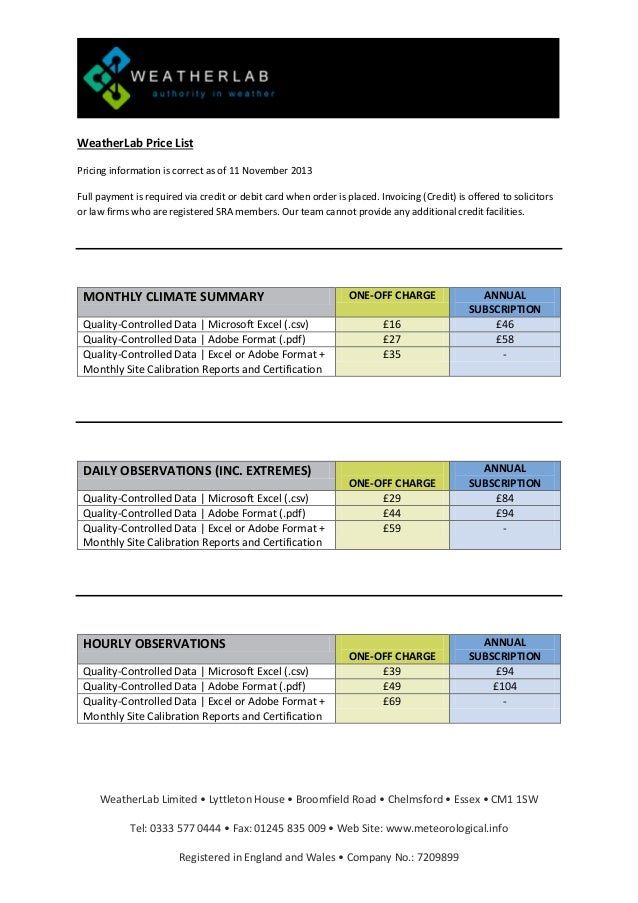 WeatherLab Price List Pricing information is correct as of 11 November 2013 Full payment is required via credit or debit c...