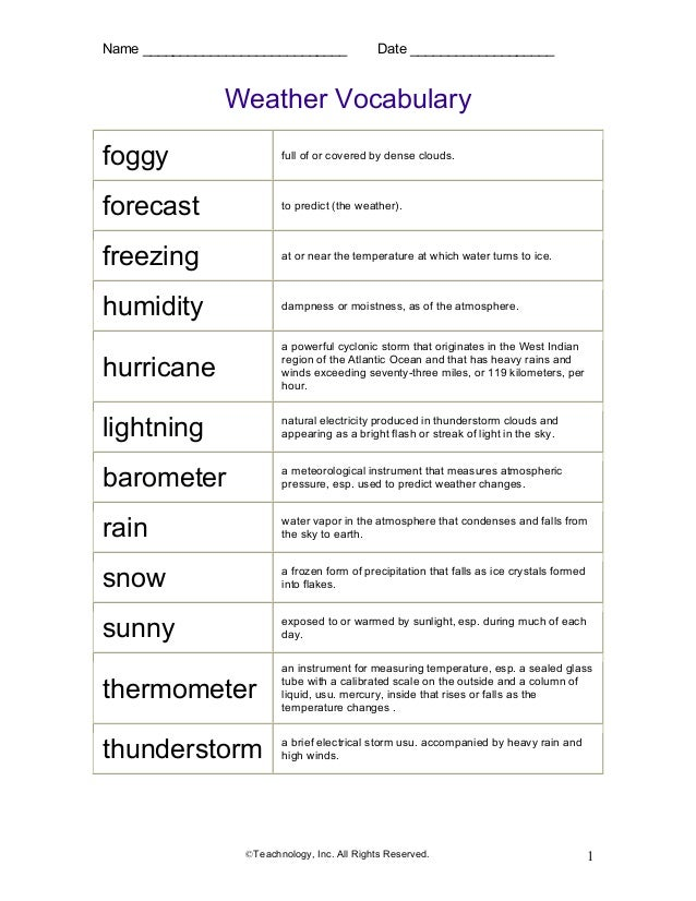 Name ___________________________ Date ___________________ ©Teachnology, Inc. All Rights Reserved. 1 Weather Vocabulary fog...