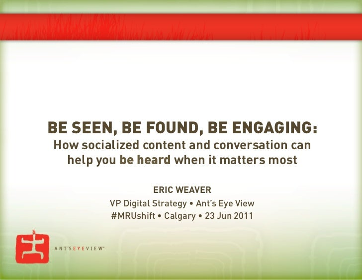 Be Seen, Be Found, Be Engaging (Calgary Edition)