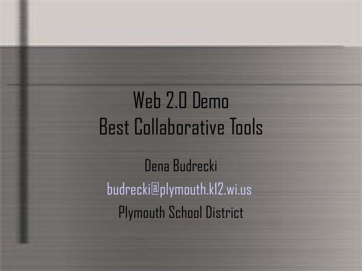 Web 2.0 Demo Best Collaborative Tools Dena Budrecki budrecki @ plymouth .k12. wi .us  Plymouth School District