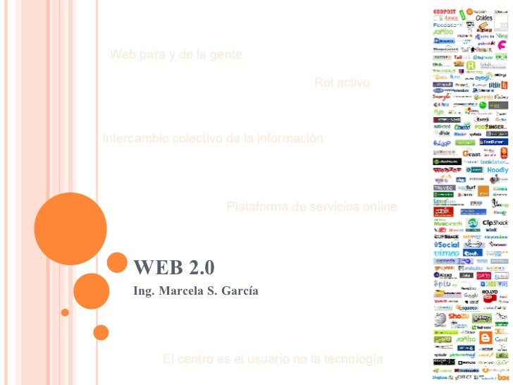 WEB 2.0 Ing. Marcela S. García  Web para y de la gente  Rol activo  Intercambio colectivo de la información Plataforma de ...