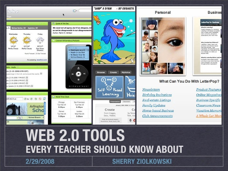 WEB 2.0 TOOLS EVERY TEACHER SHOULD KNOW ABOUT 2/29/2008        SHERRY ZIOLKOWSKI