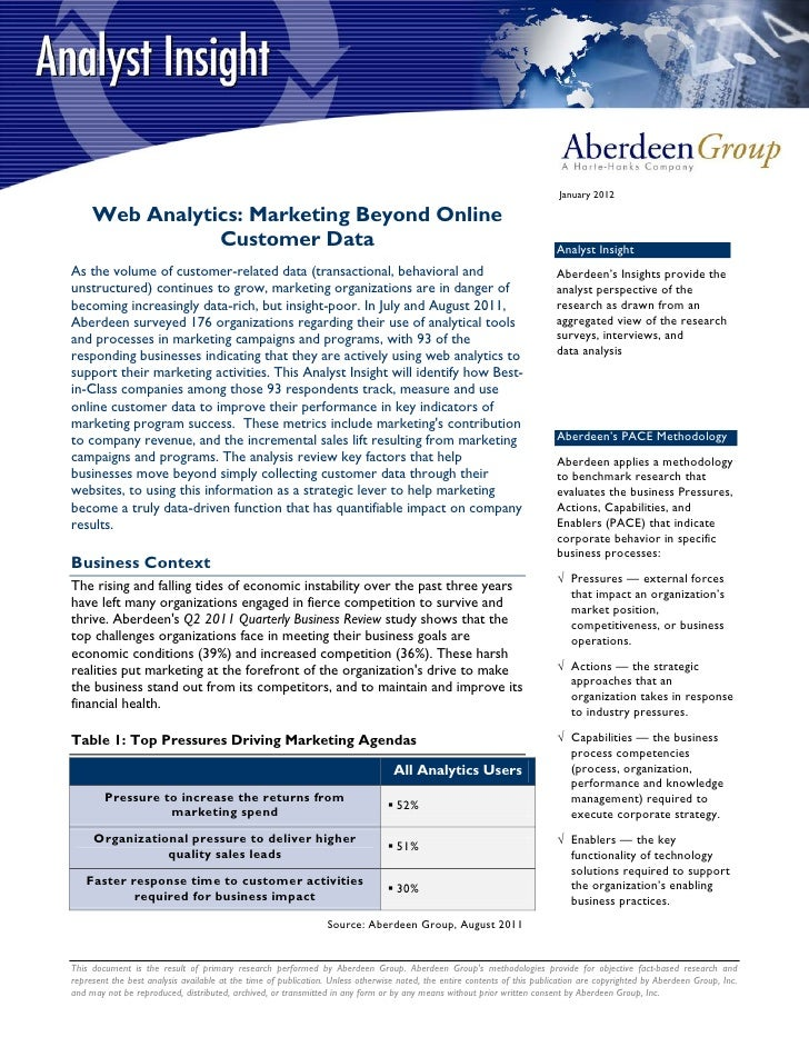January 2012     Web Analytics: Marketing Beyond Online                Customer Data                                      ...