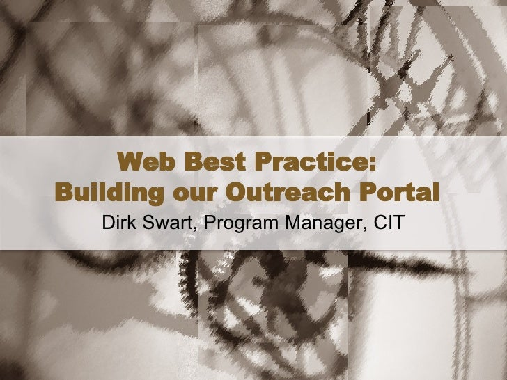 Web Best Practice - Creating an Outreach Portal