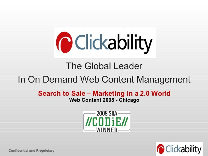 Search to Sale: Marketing in a 2.0 World