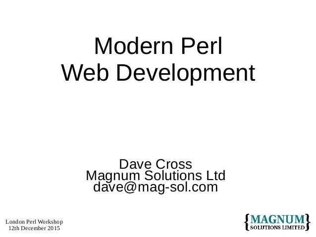 Modern Web Development with Perl
