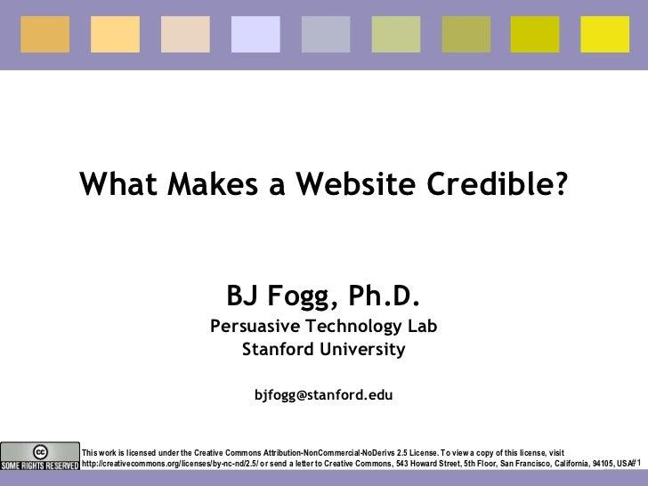 Web Credibility - BJ Fogg - Stanford University