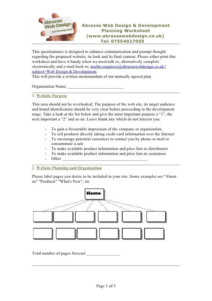 Web design planning worksheet for How to plan a website