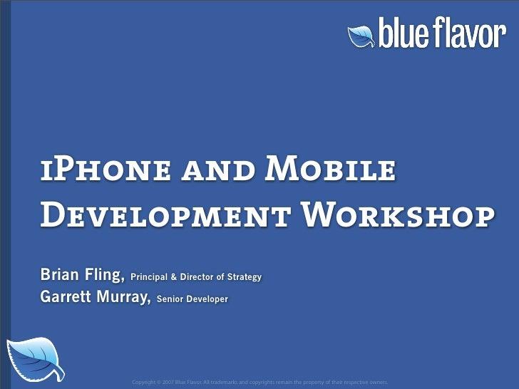 Web Design World 2007: iPhone Design and Development Workshop