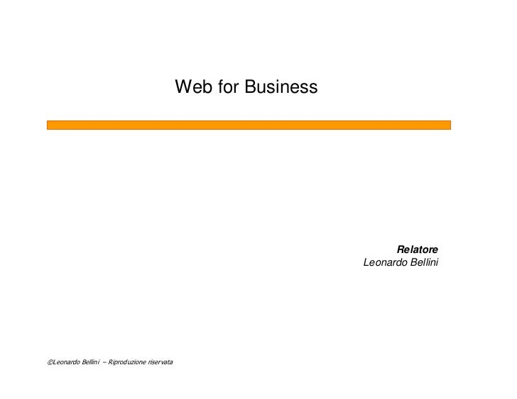Web for Business                                                                           Relatore                       ...