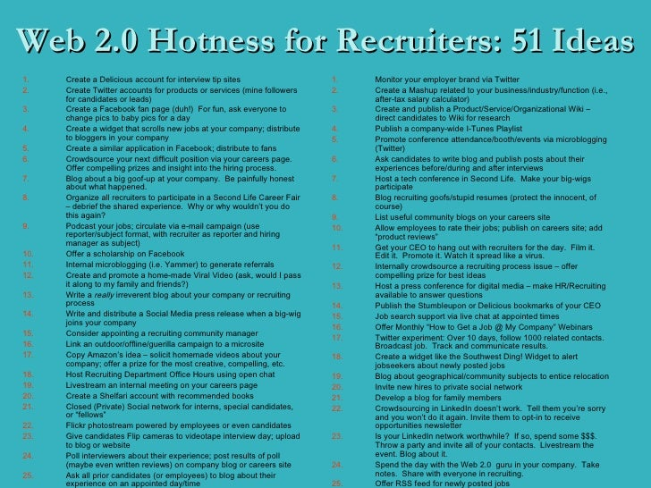 Web 2.0 Hotness for Recruiters