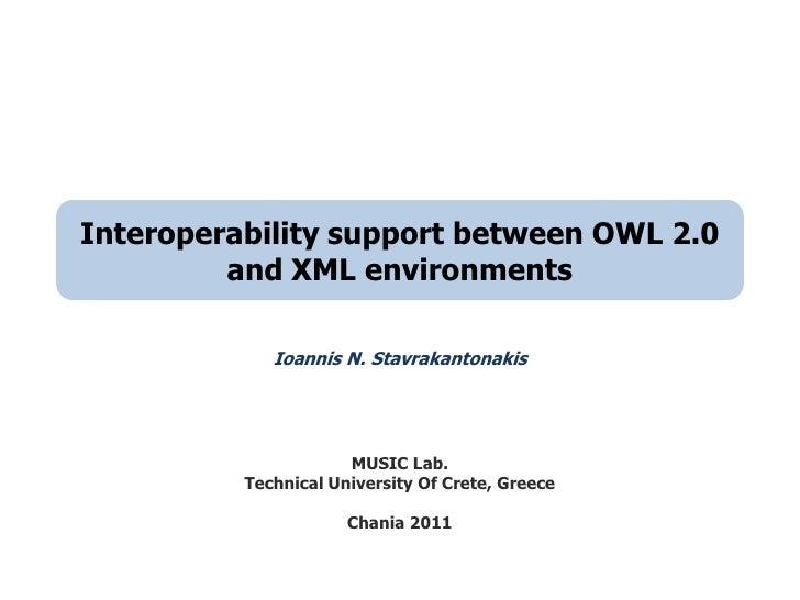 Interoperability support between OWL 2.0 and XML environments<br />Ioannis N. Stavrakantonakis<br />MUSIC Lab. <br />Techn...