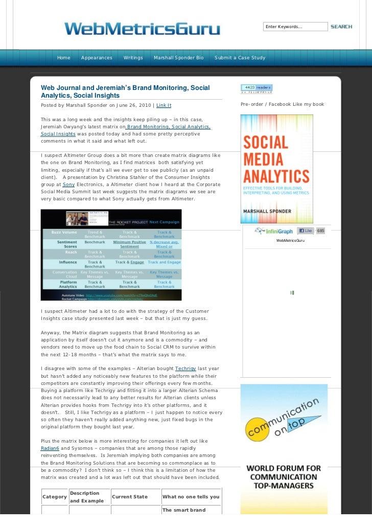 Web Journal and Jeremiah's Brand Monitoring, Social Analytics, Social Insights