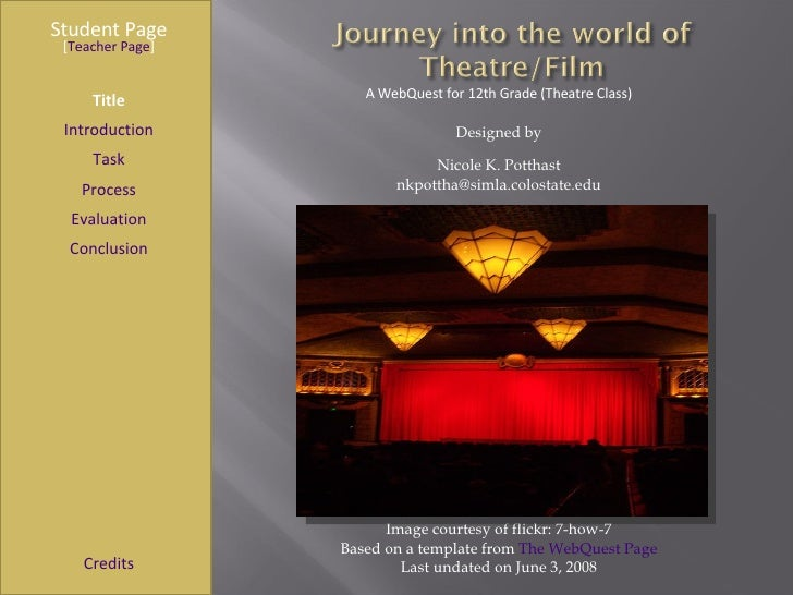Journey Into the World of Theatre/Film