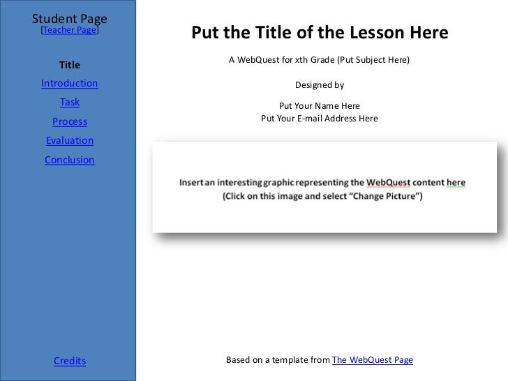 Student Page [Teacher Page]                  Put the Title of the Lesson Here                      A WebQuest for xth Grad...