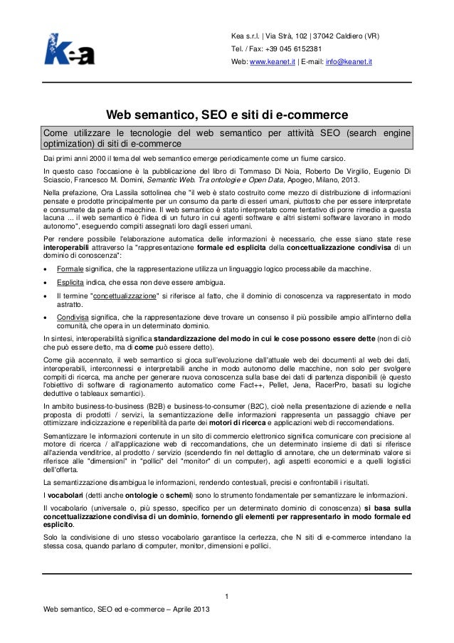 Web semantico, SEO e siti di e-commerce