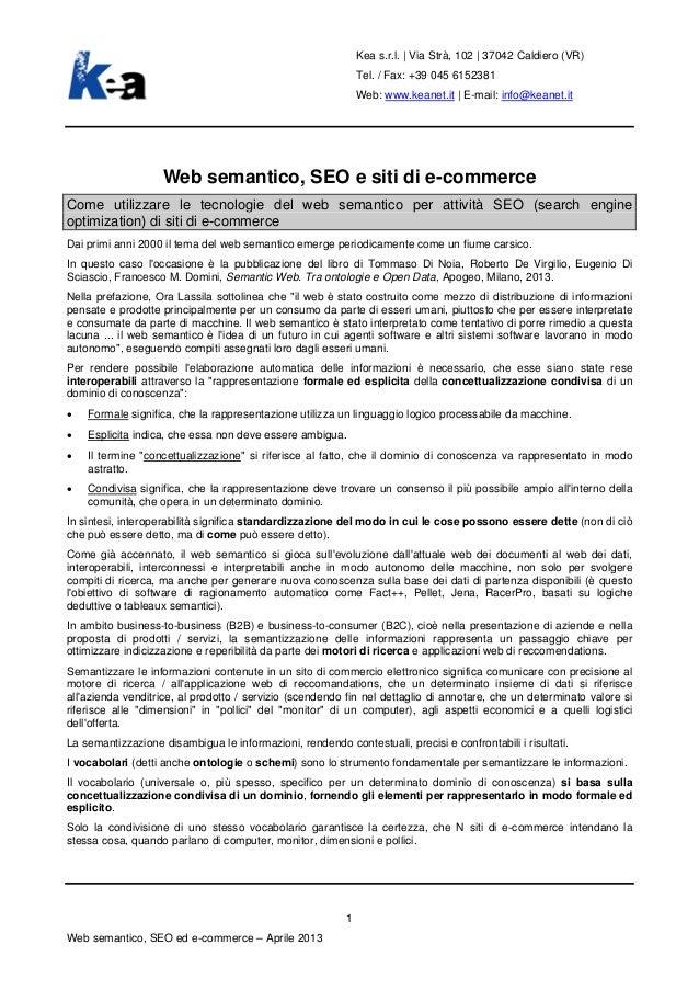 Web semantico, SEO e siti di e-commerce