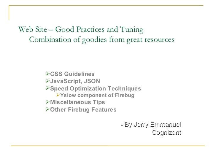 Web performance essentials - Goodies