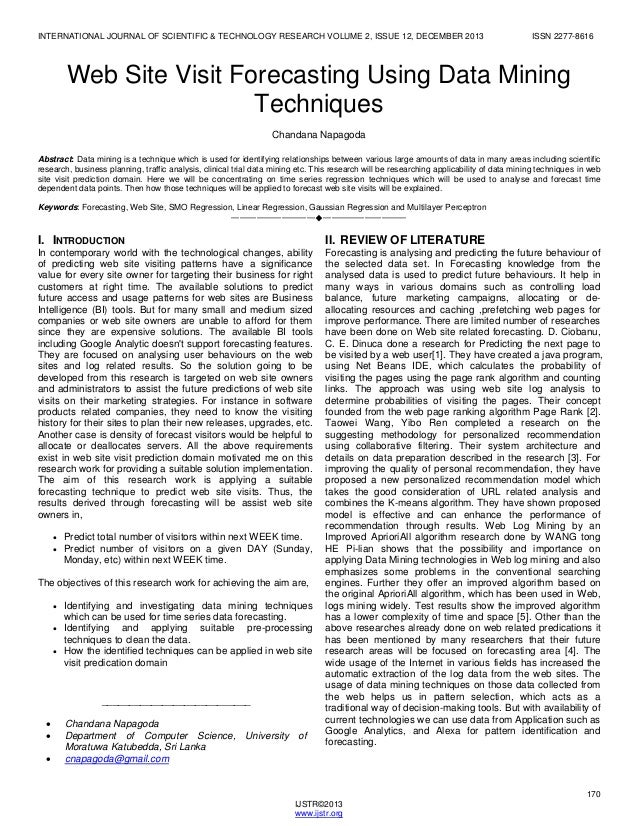 WebSite Visit Forecasting Using Data Mining  Techniques